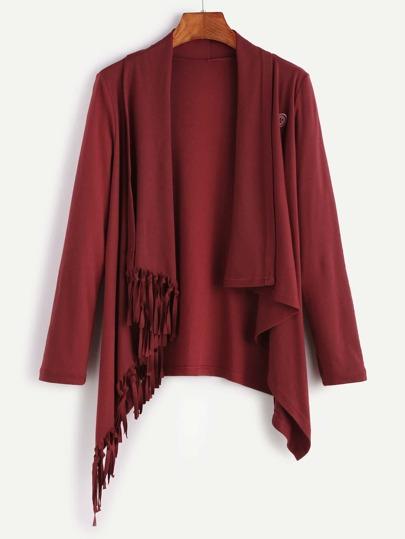 Burgundy Shawl Collar Fringe Asymmetric Hem Coat