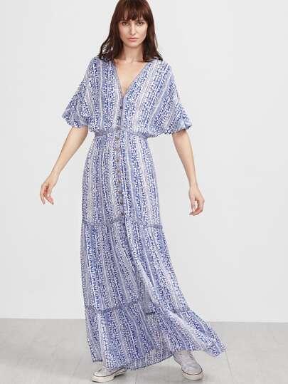 Kleid mit Stickereien Tape Detail Vintage Druck Knopf Fledemaus -blau