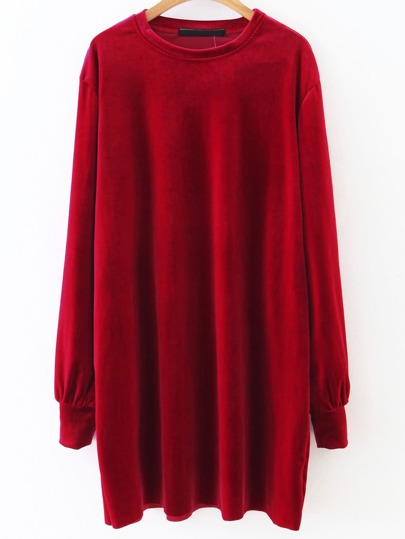 Red Long Sleeve Shift Velvet Dress