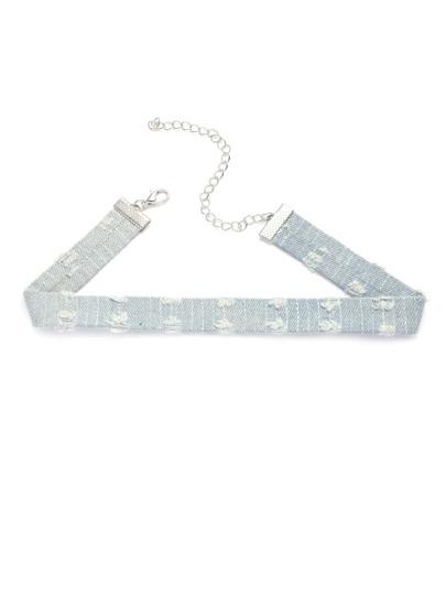 Collier ras-du-cou en jean déchiré -bleu clair