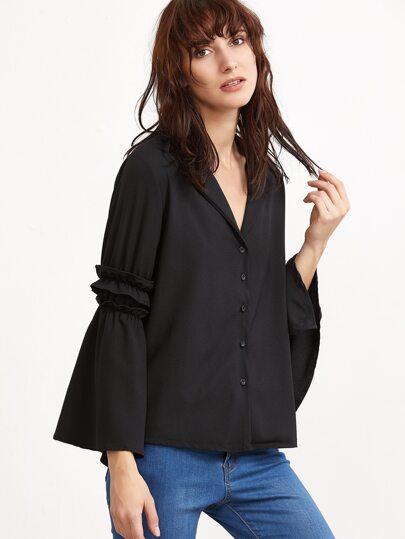 Black Bell Sleeve Ruffle Trim Shirt