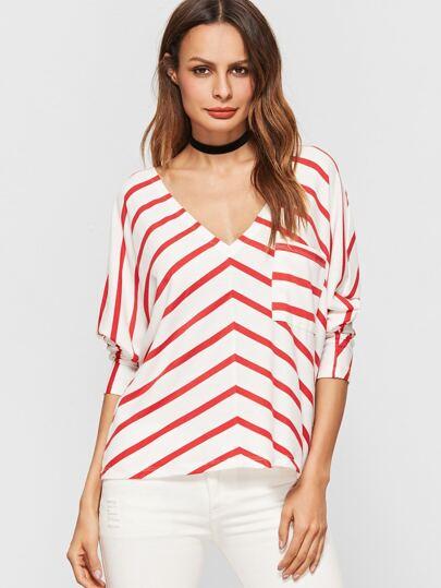 T-shirt contrasté à rayure à col V avec poche -blanc