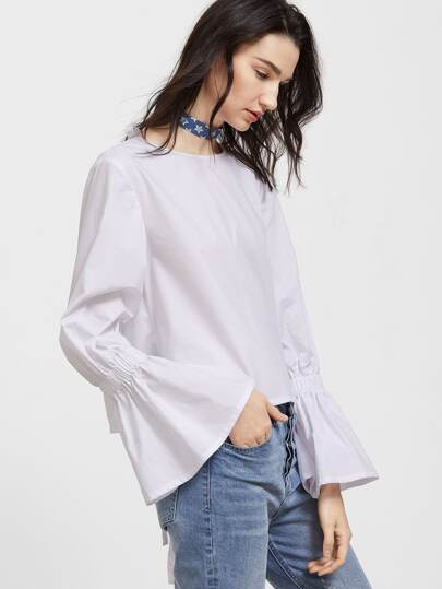 White Tied Open Back Bell Sleeve Top
