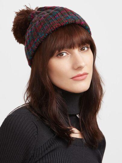 Multicolor Ribbed Knit Pom Pom Bobble Hat