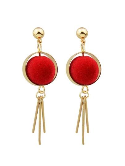 New Model Red Ball Long Spike Earrings