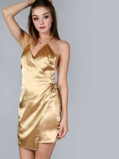 Gold Surplice Wrap Crisscross Back Asymmetric Cami Dress