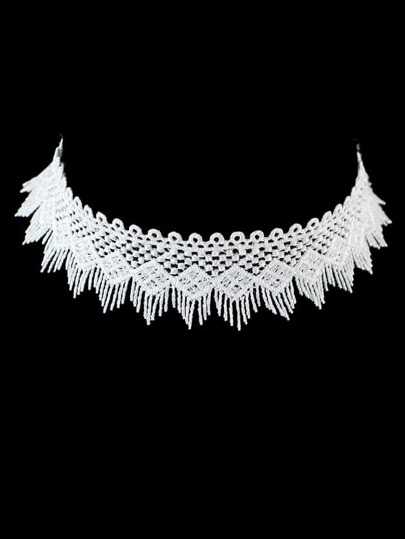 White Choker Collar Necklaces
