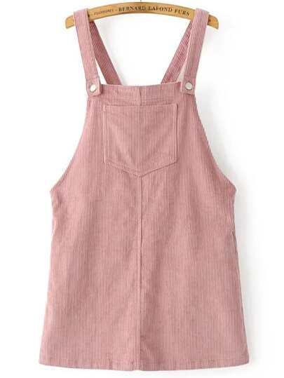 Corduroy Overall Kleid mit Taschen-rosa