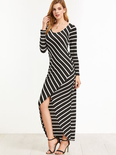 Black Striped Dip Hem Dress