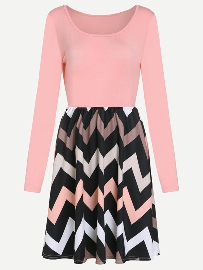 Pink Chevron Pattern Combo Dress