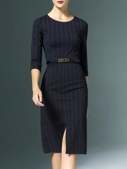 Vestito Tubino Con Spacco Cintura A Strisce - Nero