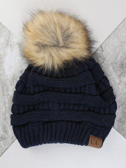 Tri Color Pom Knit Hat NAVY