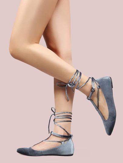 T-Strap Lace Up Velvet Flats GRAY