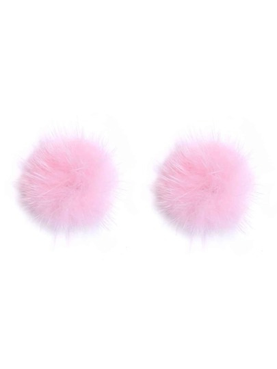 Pink Pom Pom Stud Earrings