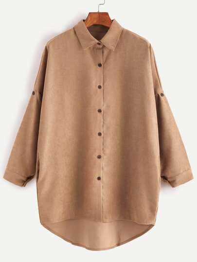 Chemise à l'épaule laissé asylétrique -kaki