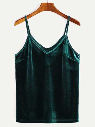 Green Velvet Cami Top