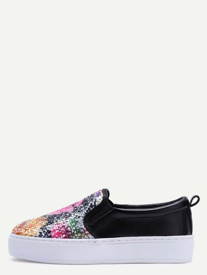 Floral Sequin Embellished Rubber Sole Sneakers