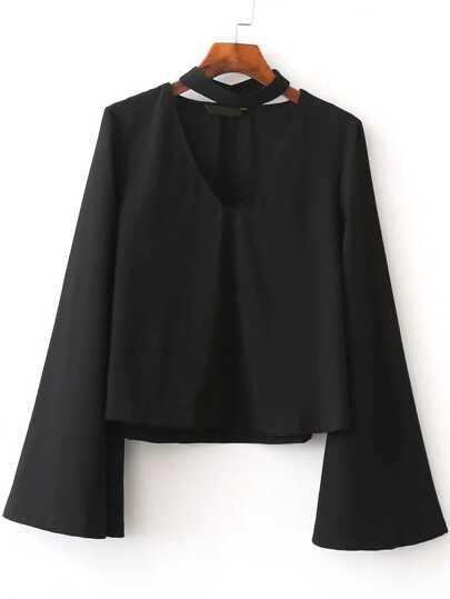 Black Choker V Neck Bell Sleeve Blouse