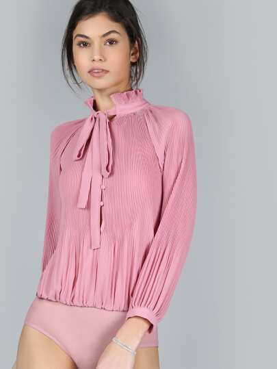 Pleated Chiffon Sleeved Bodysuit PINK
