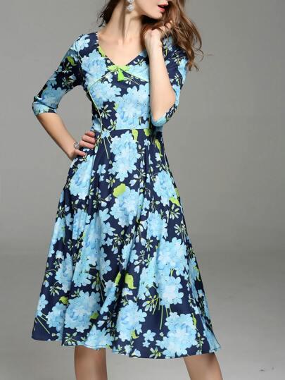 Blue V-Ausschnitt Blumen Print A-Linie Kleid