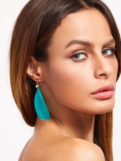 Lake Blue Rhinestone Light Feather Earrings