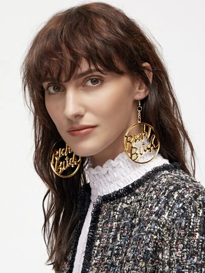 Slogan Hollow Out Circle Acylic Drop Earrings
