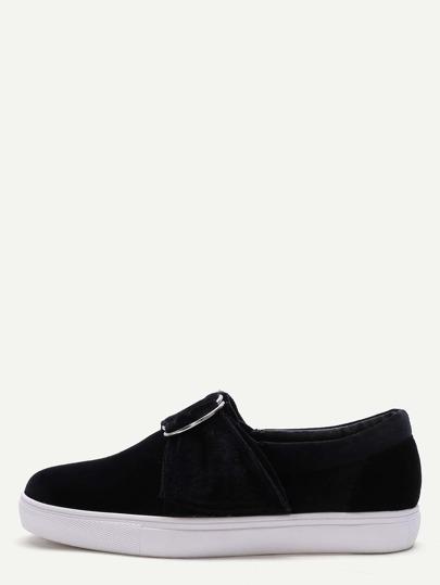 Chaussures plats bouclé avec sangle verni -noir
