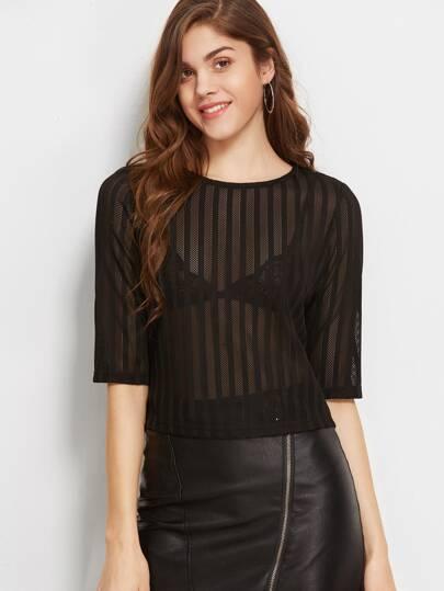 Black Half Sleeve Sheer Striped Mesh Top