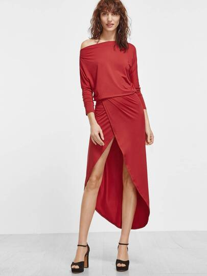 Red Asymmetric Shoulder Dolman Sleeve Overlap High Low Dress