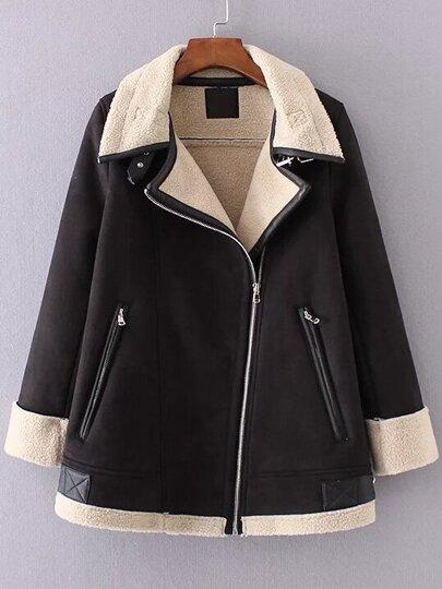 Black Oblique Zipper Suede Coat