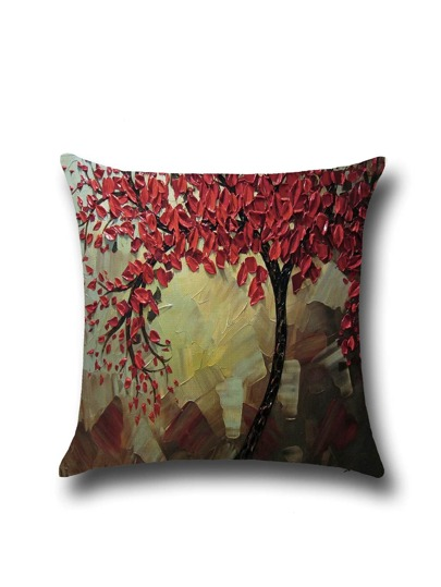 Minimalist Style Oil Plainting Linen Pillowcase Cover