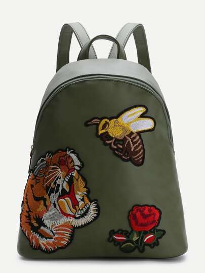 Olive Green Animal Embroidered PU Backpack