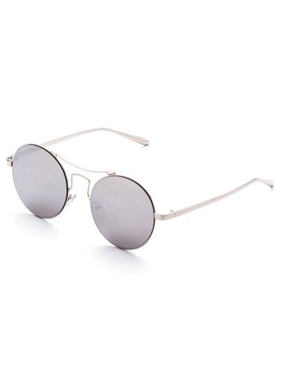 Lunettes de soleil rétro cadre miroir rond de lentille -argenté