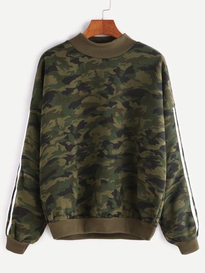 Contrast Ribbed Trim Drop Shoulder Striped Sleeve Camo Sweatshirt