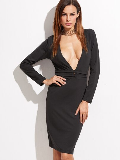 Black Deep V Neck Pencil Dress