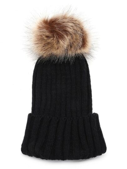 Chapeau à Pompom à nervures tricot -noir