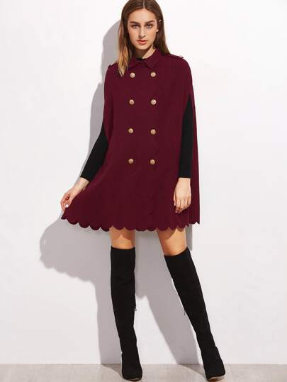 Burgundy Double Breasted Scallop Edge Cape Coat