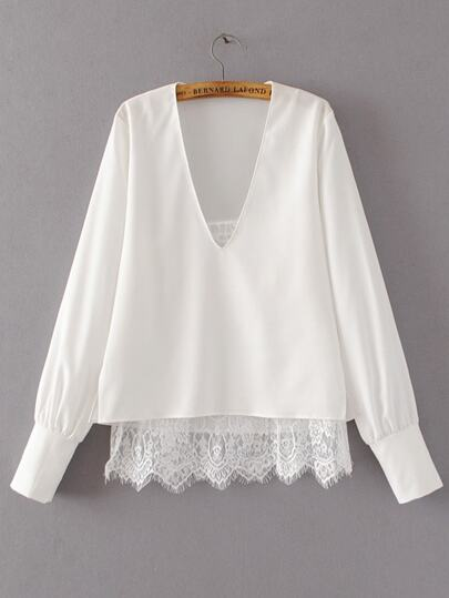 White V Neck Double Layer Lace Blouse
