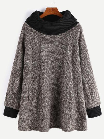 Khaki Contrast Knit Trim Pockets Sweatshirt