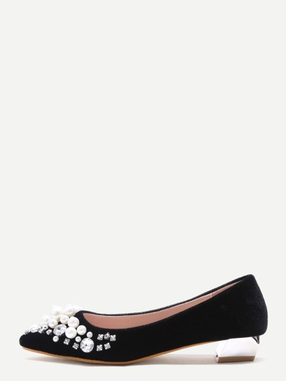 Black Jewelry Embellished Velvet Point Toe Pumps
