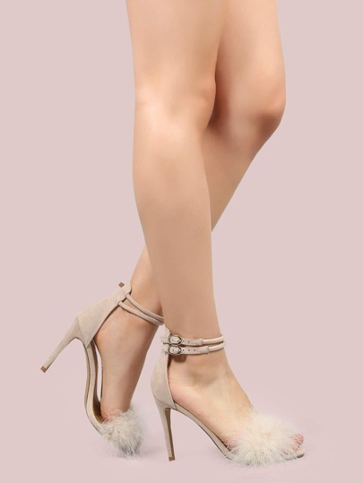Duo Ankle Strap Feather Heels NUDE