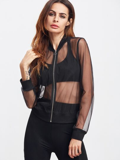 Black Zip Up Sheer Mesh Bomber Jacket