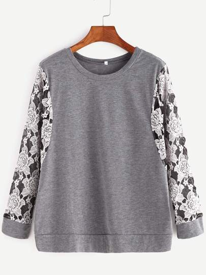 Grey Contrast Flower Embroidered Lace Sleeve Sweatshirt