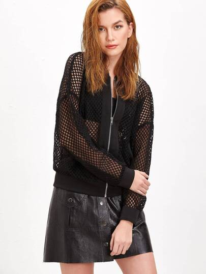 Black Ribbed Trim Zip Up Eyelet Mesh Bomber Jacket