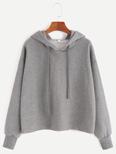 Grey Hooded Drop Shoulder Sweatshirt