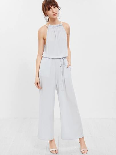 Grey Sleeveless Halter Top with Tie Waist Trousers