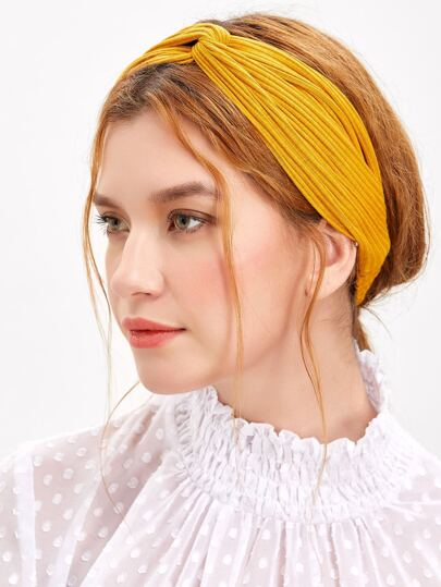Orange Textured Knit Knotted Headband