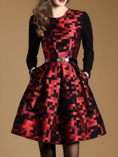 Robe imprimé forme de A avec poche et ceinture - rouge