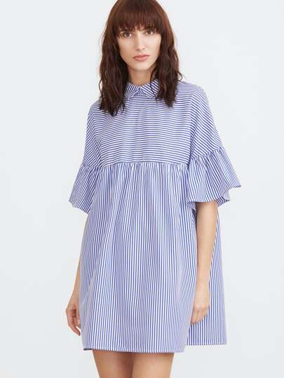 Blue And White Striped Pointed Collar Ruffle Sleeve Babydoll Dress