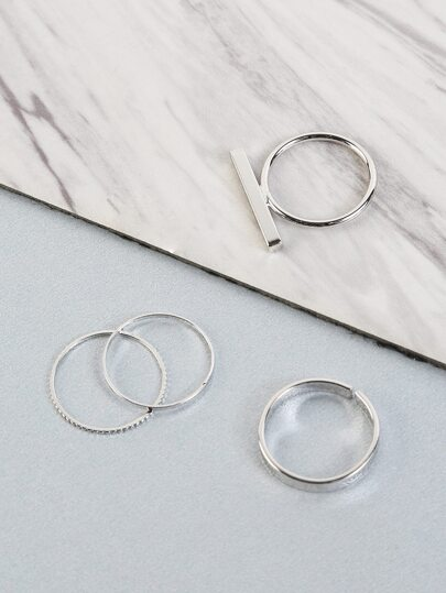 Solid Bar Ring Set SILVER